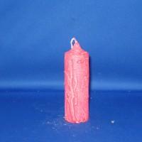 Klokkaars 40mm x 123mm, paraffine, wit met rode marmerwas