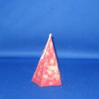 Kristalkaars Ø76mm x 125mm, paraffine, bordeauxrood met stukjes groen