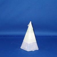 kristalkaars Ø76mm x 125mm, lichtgroene kaars met blauwe voet, gemarmerd