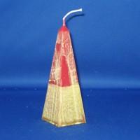 obelisk paraffine kaars Ø76mm x 174mm, rood met groene marmerwas