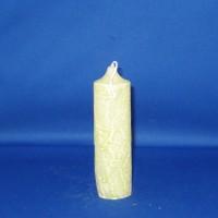 Klokkaars 40mm x 123mm, paraffine, wit met lichtgroene marmerwas