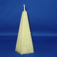 obelisk paraffine kaars Ø76mm x 174mm, wit met groene marmerwas